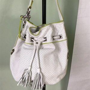 Francesco Biasia White drawstring bucket leather